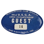 1952 US Open at Northwood Country Club Dallas Guest Badge #14 - Julius Boros Winner