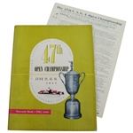 1947 Us Open at St. Louis Country Club Official Program with Pairing Sheet - Lew Worsham Winner