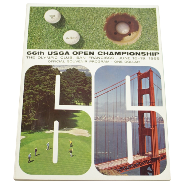1966 US Open Championship at The Olympic Club Official Program - Billy Casper Winner