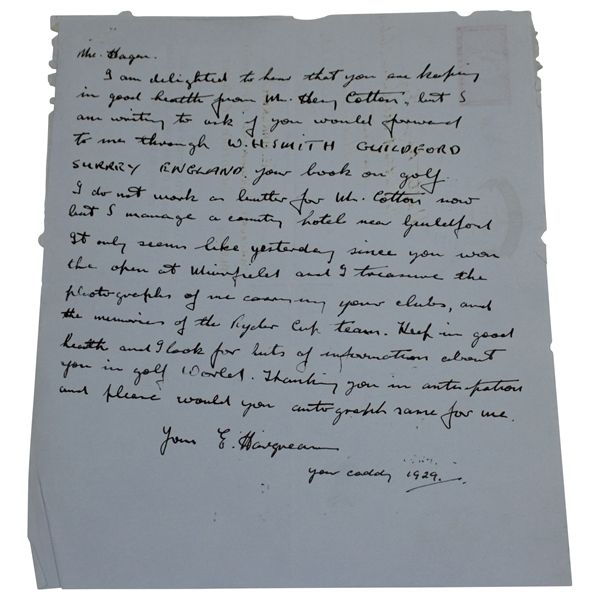 Personal Hand-Written Letter to Walter Hagen from His 1929 Caddy E. Hargraves