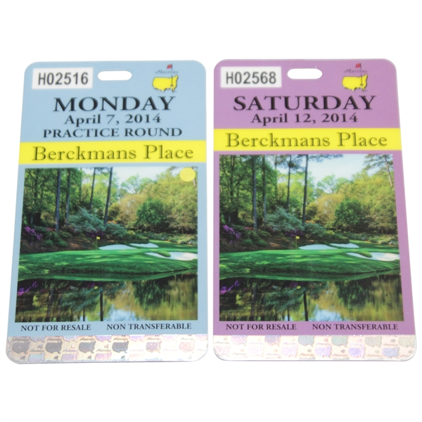 2014 Masters Tournament Berckmans Place Monday & Saturday Badges