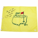 "Jim Nantz Signed 2007 Masters Embroidered Flag with ""A Win For The Ages"" JSA #II75945"