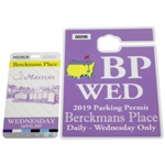 2019 Masters Tournament Berckmans Place Wednesday Badge with Parking Permit - Tigers 5th Green Jacket
