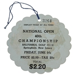 1936 US Open at Baltusrol Golf Club Friday Ticket #3264 Signed by HoF Boxer Joe Louis JSA ALOA