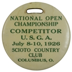1926 US Open at Scioto Contestant Bag Tag - Bobby Jones Open Victory