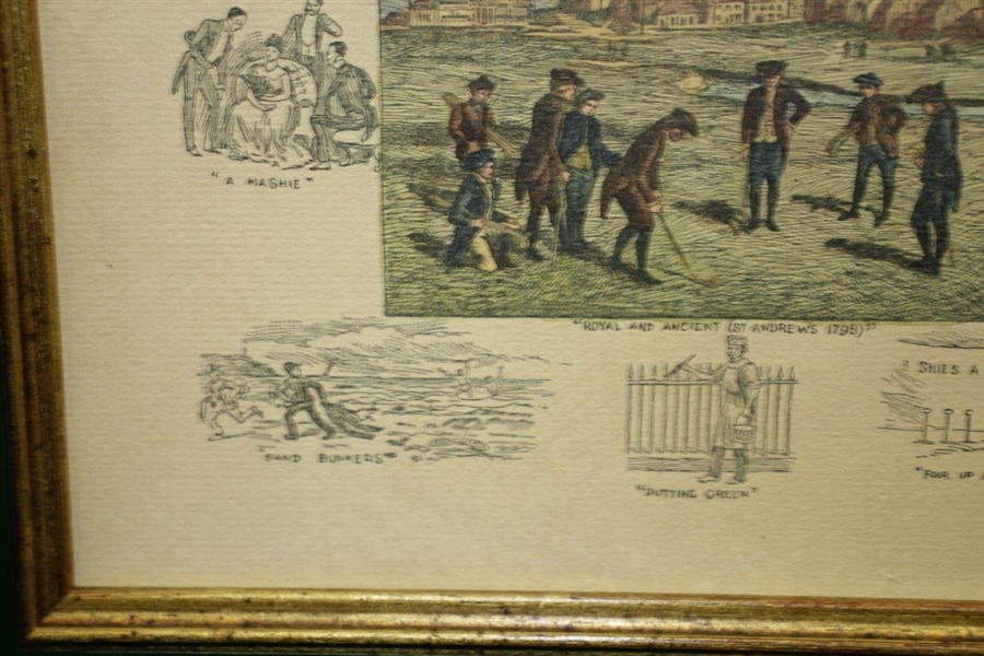 Royal & Ancient St Andrews Print of 1894 Engraving by Lawrence Josset from Original by Frank Paton - Framed