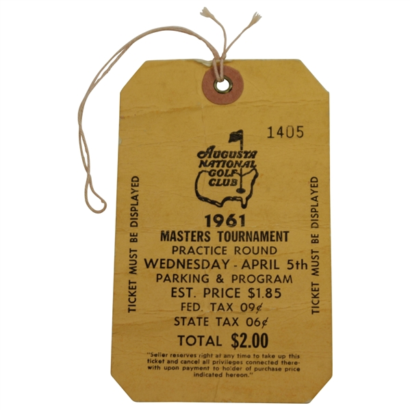 1961 Masters Tournament Wednesday Ticket #1405