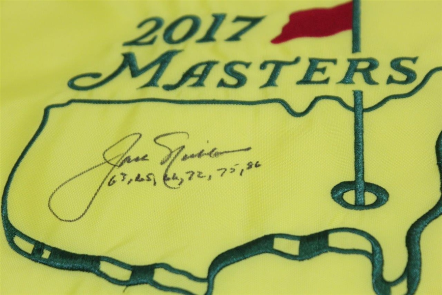 Jack Nicklaus Signed 2017 Masters Embroidered Flag with Years Won Notation JSA ALOA