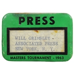 1963 Masters Tournament Official Press Badge - Jack Nicklaus Winner