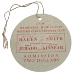 Walter Hagen Signed 1929 Exhibition Ticket with Horton Smith vs Jurado/Kinnear JSA ALOA