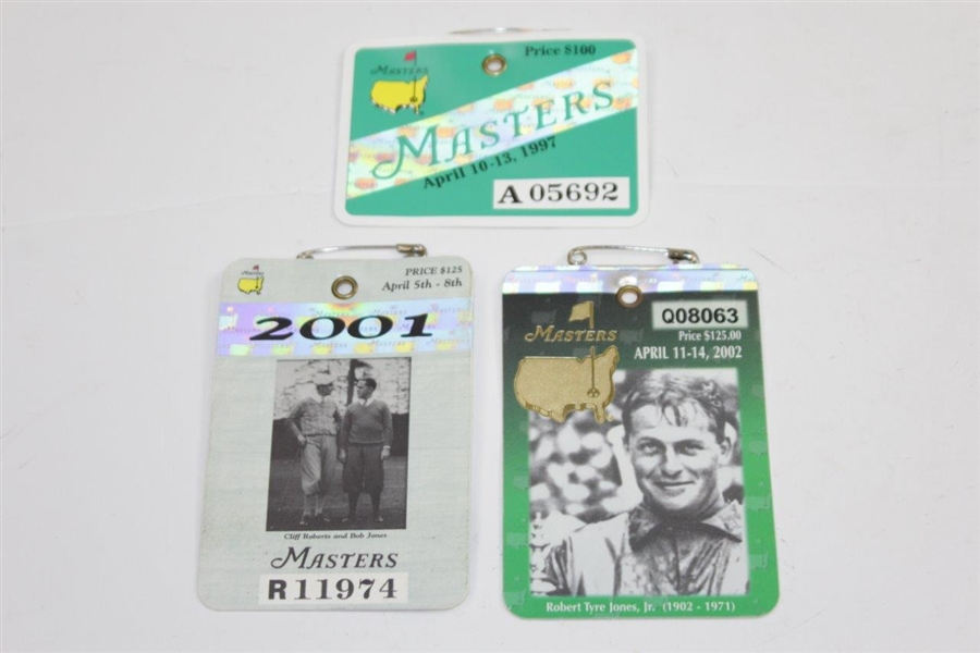 All Five(5) SERIES Badges from Tiger Woods Masters Wins Plus Masters Undated Embroidered Flag