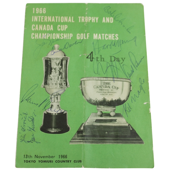 'Big 3' Palmer, Nicklaus, & Player with others Signed 1966 Canada Cup Tee Times Booklet JSA ALOA