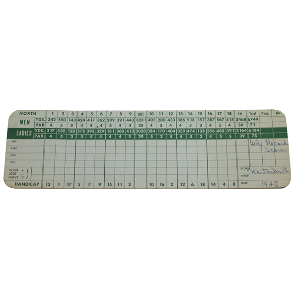 Horton Smith Signed & Dated '1948' Detroit Golf Club Scorecard with '62 Record Score' JSA ALOA