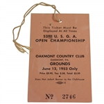 1953 US Open Championship at Oakmont CC June 12th Grounds Ticket #2746 - Hogan Win