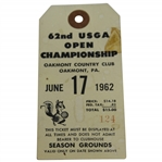 1962 US Open Championship at Oakmont CC FINAL ROUND Grounds Ticket #124 - Nicklaus Win