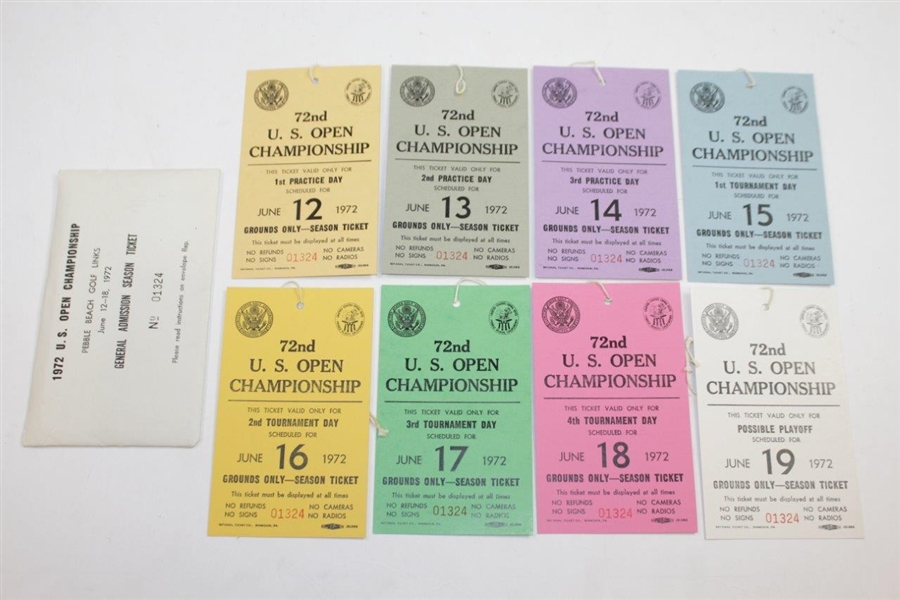 1972 US Open Championship at Pebble Beach Complete Ticket Set #01324 - Nicklaus Win