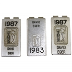 Three (3) David Eger Sterling PGA Tour Money Clips - 1987(x2) & 1983