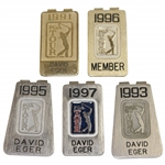 Five (5) David Eger PGA Tour Money Clips - 1991, 1993, 1995-1997