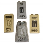 Four (4) David Eger PGA Tour Money Clips - 1985-1986, 1988, & 1995