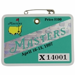 1997 Masters Tournament SERIES Badge #X14001 - Tiger Woods First Green Jacket