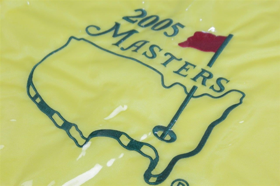 2001, 2002, 2005, & 2019 Masters Tournament Embroidered Flags in Original Plastic Sleeves