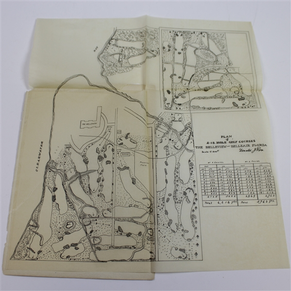 The Belleview Advertising Booklet with Fold Out Donald Ross 2-18 Hole Golf Course Plans