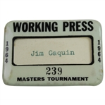 1964 Masters Tournament Working Press Badge #239 - Jim Gaquin
