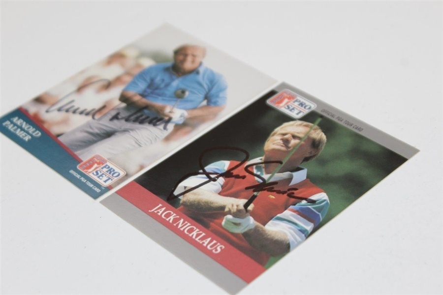 Arnold Palmer & Jack Nicklaus Signed Senior PGA Tour Pro-Set Golf Cards JSA ALOA