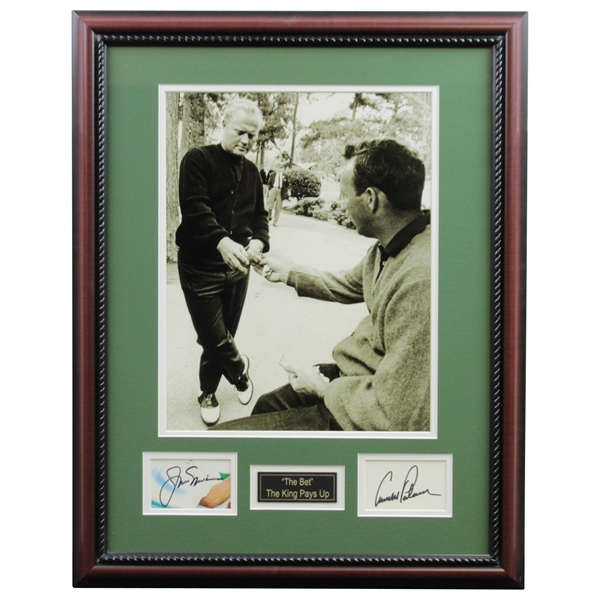 Arnold Palmer & Jack Nicklaus Signed Cuts with 'The Bet - The King Pays Up' Photo Display - Framed JSA ALOA