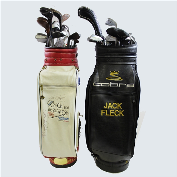 Jack Fleck's Personal Golf Bags - One Signed by Azinger and Rodriquez w/ Assortment of Clubs & Signed Wedge JSA ALOA