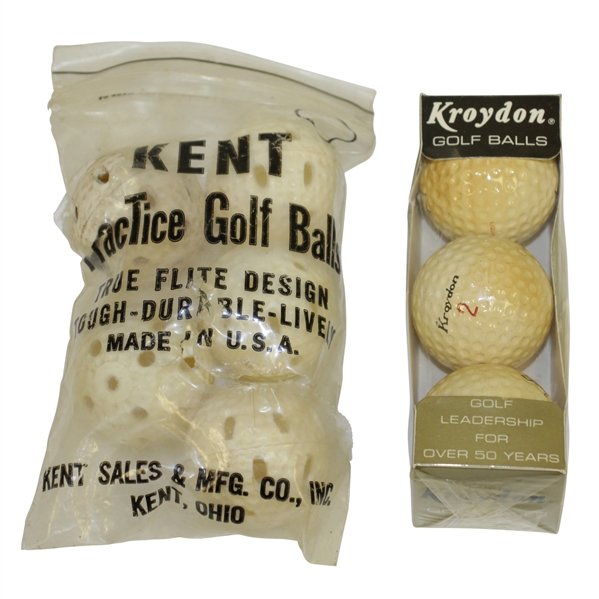 Tony Lema Signature Kroydon Golf Balls in Sleeve & Kent Practice Golf Balls