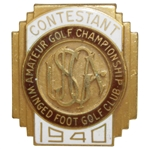 1940 US Amateur at Winged Foot Contestant Badge - Richard Chapman Winner