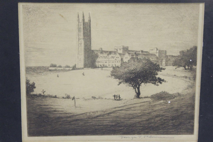 Vintage George T. Plowman Golf Scene in Front of Cathedral Etching Signed by Artist