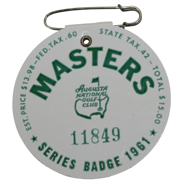 1961 Masters Tournament SERIES Badge #11849 with Original Pin - Gary Player Winner