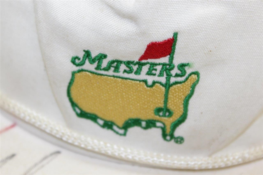 1995 Amateur Tiger Woods Signed Masters White Logo Hat w/ Others - 1st Masters JSA ALOA