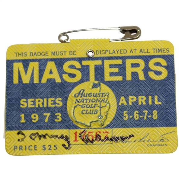 Tommy Aaron Signed 1973 Masters Tournament SERIES Badge #17567 JSA ALOA