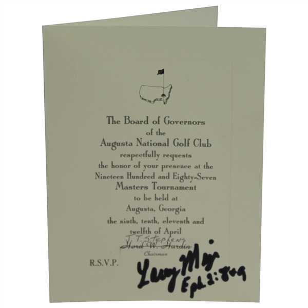 Larry Mize Signed 1987 Masters Tournament Official Invitation JSA ALOA