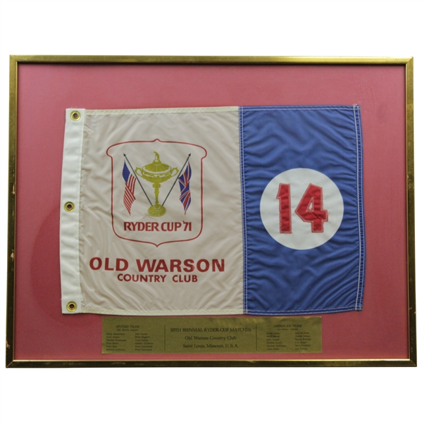 1971 Ryder Cup at Old Warson Country Club Hole 14 Course Flown Flag - Framed - Charles Coody Collection