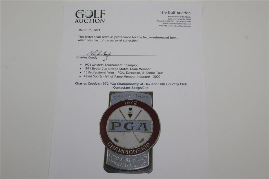 Charles Coody's 1972 PGA Championship at Oakland Hills Country Club Contestant Badge/Clip