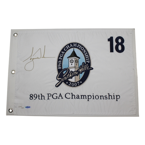 Tiger Woods Ltd Ed Signed 2007 PGA Championship at Southern Hills Flag #100/500 UDA #BAM07866