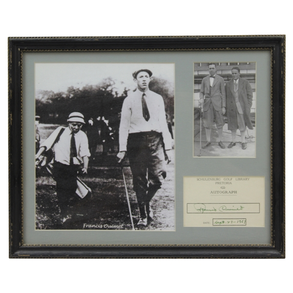 Francis Ouimet Signed Cut with Photo Display - Framed JSA ALOA