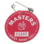 1963 Masters Tournament SERIES Badge #11487 with Pin - Pin Has Damage