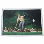 Jack Nicklaus Signed Original 1986 Masters Making Putt Memorable Pose Canvas Painting JSA ALOA